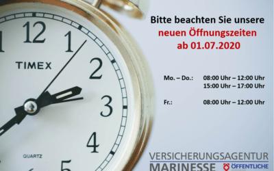 Neue Öffnungszeiten ab 01.07.2020